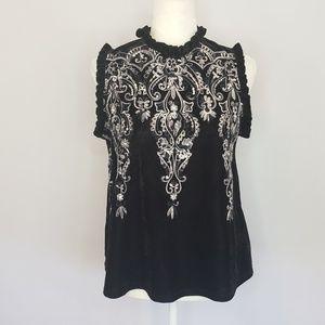 Altar'd State black velour sleeveless Top Medium